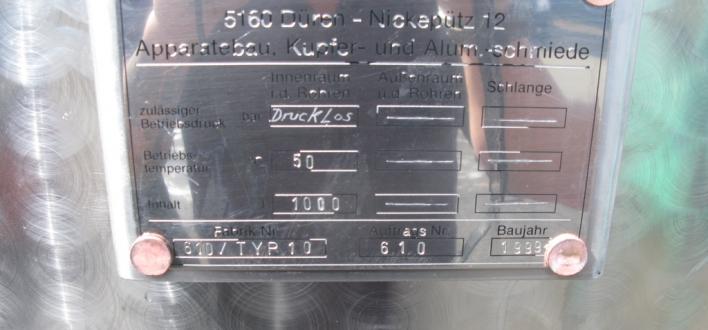 Afbeelding 2 - Rvs tank 1000 Ltr.